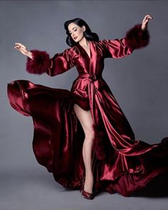 Image of Dita Von Teese Collection Marabou Bordeaux Dressing Gown