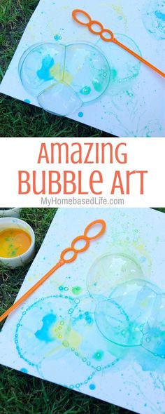 home activities for kids For days when you want to relax at home, the kids can still do this fun Bubble Art Activity. Perfect for all ages and takes mere minutes to set up. Kids Crafts, Kids Activities At Home, Preschool Art Activities, Summer Activities For Kids, Summer Kids, Bubble Activities, Kids Outdoor Crafts, Kindergarten Crafts Summer, At Home Crafts For Kids