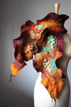 Wet felted Art scarf wool silk