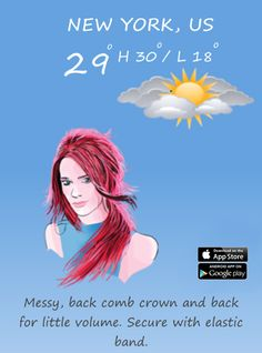 Living in New York?  See how best to style your hair for today's weather forecast with the HairWeatherApp from Alex Budai...  http://www.hairweather.us/about-app.html  #NYC #Hairweather #App
