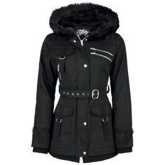 Tykforet jakke af 100% bomuld med masser af lommer, spænder og pelskrave.