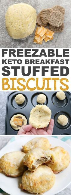 Freezable Keto Stuffed Biscuits Recipe | These easy low carb and keto breakfast recipe ideas are perfect to make ahead of time, and simply grab for on the go! Meal prep can be a life saver! Eating healthy has never been so easy with these time-saving tips and tricks. Everything from casseroles to muffins! They're perfect for a ketogenic diet. Listotic.com