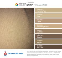 I found these colors with ColorSnap® Visualizer for iPhone by Sherwin-Williams: Harmonic Tan (SW 6136), Ecru (SW 6135), Canoe (SW 7724), Dromedary Camel (SW 7694), Mudslide (SW 9113), Caraïbe (SW 9090), Artifact (SW 6138), Half-Caff (SW 9091). Colour Pallete, Color Schemes, Sherwin Paint, Suede Paint, Color Me Badd, Deck Colors, Paint Colors, Color Paints, Ecru Color