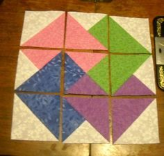 My Tutorial -Card Trick quilt block made with my shortcut piecing methods