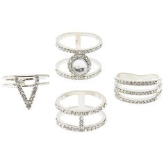 Charlotte Russe Embellished Caged Rings - 4 Pack (105 ARS) ❤ liked on Polyvore featuring jewelry, rings, accessories, silver, silver rings, silver statement rings, silver jewellery, silver jewelry and statement rings