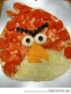 Angry Bird Pizza…Actually, I would really like some pizza right now. I asked my mom if we could order some ans she said no. D:
