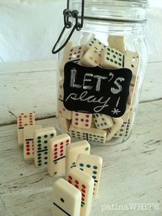 """This would make a great gift!  fill with dominos, Farkle dice, a deck of Uno cards and regular cards!  game time!...so cute to display with other """"game pieces"""" in jars or creative storage"""