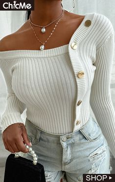 Trend Fashion, Knit Fashion, Look Fashion, Autumn Fashion, Fashion Outfits, Long Sleeve Sweater, Long Sleeve Tops, Batwing Sleeve, Chic Type
