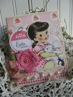 vintage style easter card- little girl and bunny card- easter wishes handmade card