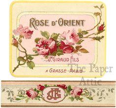 Antique Vtg 2 Part French Paris Perfume Label Rose d' Orient by Jn. Giraud Fils