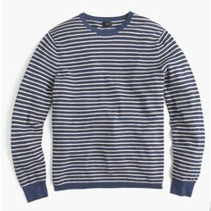 J.Crew Cotton-cashmere piqué crewneck sweater in stripe ($60) ❤ liked on Polyvore featuring men's fashion, men's clothing, men's sweaters, mens striped sweater, men's cotton cashmere sweaters, mens crewneck sweaters, mens crew neck sweaters and j crew mens sweaters