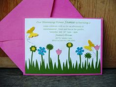 Backyard Garden Theme Birthday Party Handmade Invitation