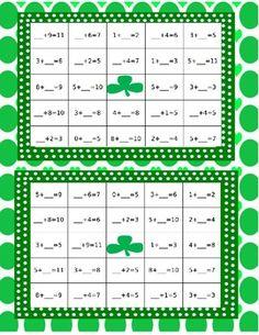 St. Patrick's Day Bingo, Find the Missing Addend - Carol Redmond - TeachersPayTeachers.com