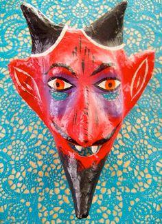 Mexican Folk Art  -  Vintage Devil Mask on Etsy, Sold