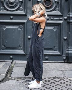 love this oversized jumpsuit paired with white sneakers! You can accessorize this up or down with a leather or chain choker!