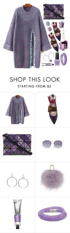 """Purple"" by simona-altobelli ❤ liked on Polyvore featuring Attico, Bao Bao by Issey Miyake, Yves Salomon, hif, Wet n Wild, Swarovski and LULUS"