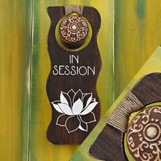 hand painted wood white lotus flower door hanger reads in session