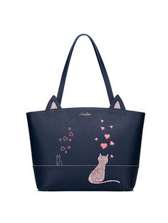 Shop Totes - Navy Blue Sweet Medium Tote online. Discover unique designers fashion at StyleWe.com.