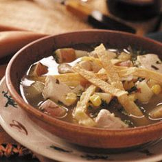Chicken Tortilla Soup    This is a great soup! I actually boil the chicken and use the broth from it instead of buying broth!   The leftovers also make a great starter for King Ranch Chicken! :)