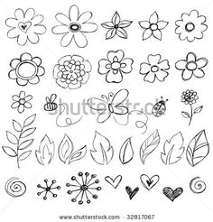 Sketchy Doodle Flowers Vector Illustration - stock vector