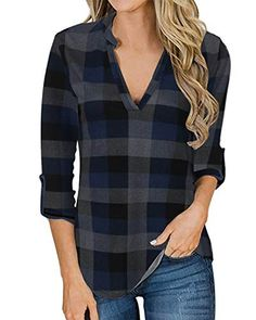 Xinantime Femmes Col v pull Ray/é Manches Longues pull chemisier Chemises sweat Top Blouse Veste chaude Pull Automne hiver Chemise Tops Femmes