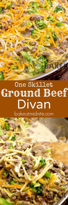 One-Skillet Ground Beef Divan - The Midnight Baker- One-Skillet Ground Beef Divan ~ inexpensive ground beef, one pan, and 30 minutes is all it takes for this great family dinner! One-Skillet Ground Beef Divan – The Midnight Baker James Powell j Ground Beef Recipes For Dinner, Easy Dinner Recipes, Easy Meals, Dinner Ideas, Inexpensive Meals, Cheap Meals, Korma, Beef Dishes, Pasta Dishes