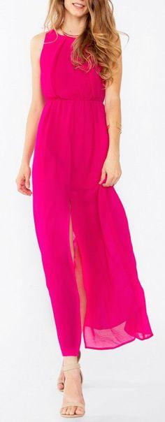 gorgoeus flowy hot pink dress