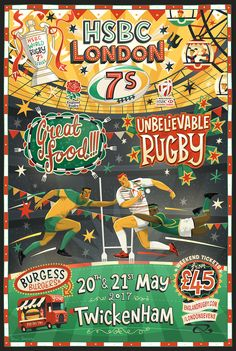 Illustrated branding for HSB London Sevens rugby tournament