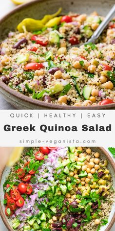 Greek Quinoa Salad recipe is a Mediterranean inspired side or main dish featuring quinoa, chickpeas, cucumber, olives, and fresh herbs that's super flavorful, easy to make and a crowd-pleasing favorite! #quinoasalad #healthyrecipes #veganrecipes #plantbased Low Fat Vegan Recipes, Healthy Salad Recipes, Veggie Recipes, Lunch Recipes, Easy Dinner Recipes, Whole Food Recipes, Vegetarian Recipes, Vegetarian Diets, Health Recipes