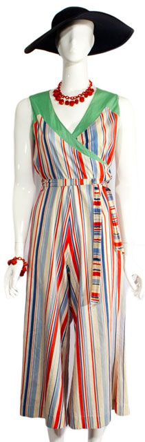 Vintage 1930s Jaunty Jumpsuit  Irresistible Thirties resort wear. This sporty playsuit has a colorful beach stripe and mint green inset panel shoulders. Wrap bodice with attached self belt. Wide palazzo pant legs.  http://www.ballyhoovintage.com/product/30171.html