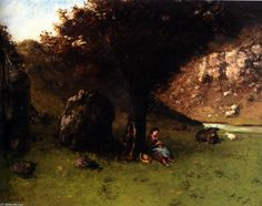 'Der Junge Schäferin', öl auf leinwand von Gustave Courbet (1819-1877, France)