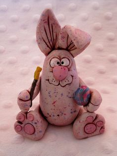 Speckled Bunny Rabbit --Easter polymer clay critter. $18.00, via Etsy.