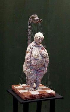 "Album at the Manezh exhibition ""World of Dolls"" - Galina Ja's photos. Form Crochet, Crochet Art, Crochet Dolls, Crochet Patterns, Textile Sculpture, Soft Sculpture, Textile Art, Knit Art, Yarn Bombing"