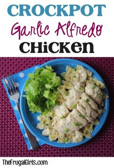 Crockpot Garlic Alfredo Chicken Recipe! ~ from TheFrugalGirls.com ~ you'll love this delicious creamy dinner dish! YUM! #slowcooker #recipes #thefrugalgirls