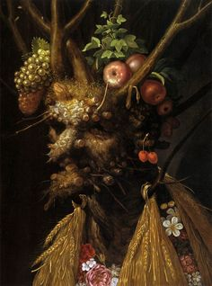 Giuseppe Arcimboldo, The Four Seasons in one Head, c.1590, oil on wood, 60 x 45 cm, Private Collection. Source Everyone knows that Arcimboldo painted portraits of the four seasons individually, but this piece, which combines spring, summer, autumn and winter in one, is perhaps less known. It was painted for Gregorio Comanini, a Mantuan poet and historian.