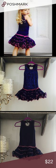 Oh LaLa Couture blue children's sequence dress Adorable Oh Lala Couture navy blue sequence dress with pink outlining size 3T. Dresses