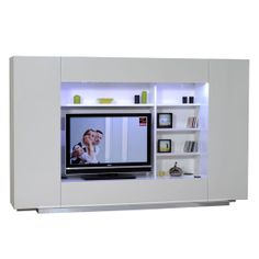 Fantastisch Contemporary Styling Is Accented With High White Gloss Finish In Volta #TV  Wall Unit. The Unit Has Been Designed With High Gloss Chrome Finish And Has  ...