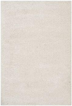 Safavieh Venice Shag Collection SG256P Handmade Pearl Polyester Area Rug, 4 feet by 6 feet (4′ x 6′)