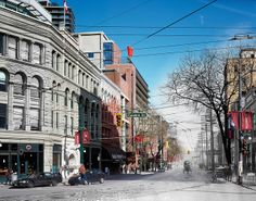 The students at Langara College combined historical and modern photos in their 'Merging Time' album. The results are amazing. Time Photo, Vancouver, Places Ive Been, To Go, Students, Street View, Canada, College, Exhibit