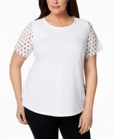 91c45aabe62 Charter Club Plus Size Crochet-Sleeve T-Shirt