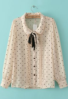 Pink Long Sleeve Polka Dot Chiffon Blouse 16.67 So cute and chic. Sheinside.com