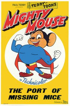Vintage Cartoon Poster Fridge Magnet Mighty Mouse by Vividiom, $3.00