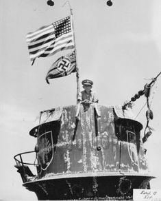 """Captain Gallery on bridge of """"JUNIOR"""", U-505"""