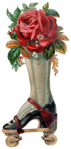 Victorian Die Cut Scrap Ladies Boot Strapped on Rollerskates with Roses Ca Edwardian Shoes, Victorian Shoes, Victorian Era, Vintage Ephemera, Vintage Cards, Vintage Images, Vintage Pictures, Roller Derby, Roller Skating