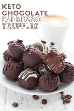 Titled image of keto chocolate espresso truffles on a white plate, with a cup of espresso in the background. Sugar Free Dark Chocolate, Chocolate Espresso, Keto Chocolate Cake, Low Carb Chocolate, Chocolate Truffles, Chocolate Treats, Chocolate Flavors, Low Carb Sweets, Low Carb Desserts