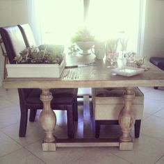 Gray washed balustrade dining room table - MasterCrafts Monastery Table via: Delighting in Today