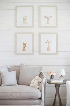 lay baby lay classic, polished pink nursery reveal. featuring our baby animal portraits, ondine salon bench, kenzie side table and mini lourdes lamp.