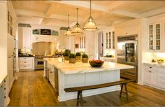 coiffered ceilings in kitchen - huge center island - glass cabinetry - Daily Crush: FROM FOUNDATION TO FURNISHING