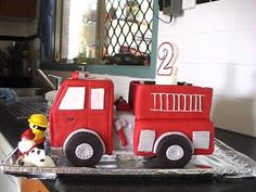 Fire truck: wanted to make my son a cool cake for his birthday so i attemted my first fondant cake. Usinga toy as insperation i drew up measurments them proceded to