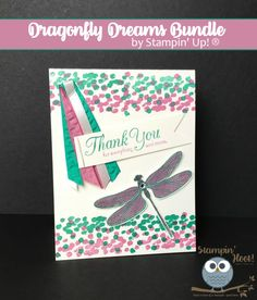 Stampin' Hoot!, Stesha Bloodhart, Stampin' Up! Dragonfly Dreams, 2017 Occassions Catalogs, Thank You Card, Handmade